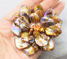 AMAZING!freshwater pearl and coffee shell flower  brooch 40mm  wholesale beads