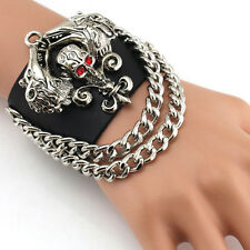 Punk Rock Men Wolf Skull Link Chain PU Leather Bracelet Cuff Wristband Gothic