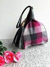 Quirky Ladies Black Leather Pink  Black Check Purse Clutch Wrist Bag With Tassel
