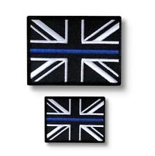Thin Blue Line Police Union Jack Hook & Loop Backed patch Set (UK Insignia)