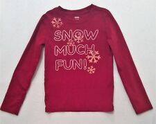 "Gymboree ""Penguin Chalet"" SNOW MUCH FUN! Snowflake LS Red Top, M (7-8)"