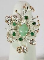 Ladies Handmade Natural Emerald 925 Sterling Silver Ring Size 7.5
