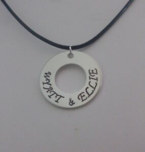Personalized Customizable Couples Hand Stamped Aluminum Washer Necklace
