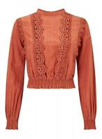 RRP £35.00 Miss Selfridge Clay Victoriana Top                              (B81)