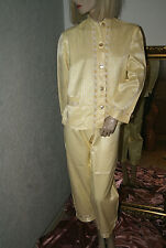 BAUMWOLLSATIN Glanz Pyjama * Negligee - Anzug gelb Blumenbörtchen neu M