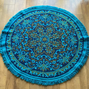 "Vintage 1960s 1970s Reversible Rug Turquoise Round Circular Wool 52"" 132cm Diam"