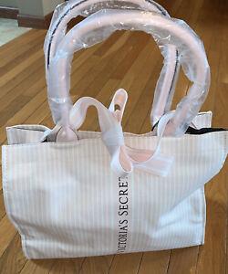 New Victoria Secret PurSe Crossbody Strap Tote Bag Logo Pink & White Striped