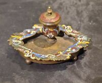Antique Bronze French Champleve Enameled Inkwell Cloisonne