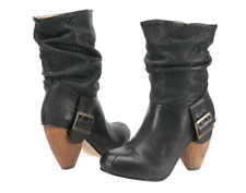 FLY LONDON RIFF DESIGNER LACK LEATHER PULL ON MID CALF BOOTS UK 4 EU 37 RRP £170