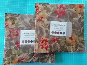 "Garden House 42 Quadrate a' 10"" oder 25,4 cm Layer Cake Baumwolle moda Floral"