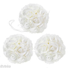 "3 Pack 8"" Kissing Ball Wedding Decoration Rose Pomander Ivory Flower Centerpiece"