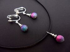 A LADIES LEATHER CORD RAINBOW BEAD  CHOKER NECKLACE & CLIP ON EARRINGS SET.