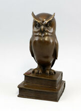 9937417-dss Bronze Sculpture Figure Owl the Wisdom on Book 11x9x22cm