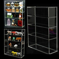 Clear Display Case Acrylic Box Dustproof For Figure Car Model Doll Toys 4 Tiers