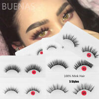 BUENAS 1 Pair 3D Mink Hair False Eyelashes Handmade Long Wispy Fluffy Crossed~