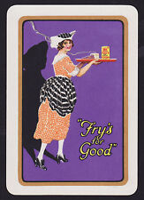 1 Single VINTAGE Playing/Swap Card OLD WIDE ADV COCOA THE FRY GIRL Purple