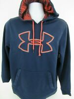 Under Armour Mens Size Medium Hoodie Big Logo Pullover Sweatshirt~NAVY BLUE~ EUC
