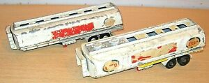 DINKY Toys AEC 'ESSO' TANKERS x2 - for spares - very playworn