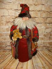 "Santa Claus Tree Topper Plaid Suit Teddy Bear Sled Christmas Holiday 24"""