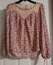 New Women's Xhilaration Blush Sheer Floral Long Sleeve Shirt Blouse Top Size M