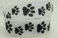 "Dog Paw Print Ribbon 7/8"" Wide or 22mm NEW UK SELLER FREE P&P"