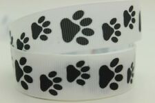 "Dog Paw Print Ribbon 7/8"" (22mm) Wide 1m is only £1.39 NEW UK SELLER FREE P&P"