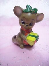 Vtg Josef Original Christmas Mouse Around the House Holds Cheese Gift Figurine