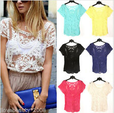Women Sexy Semi Sheer Embroidery Floral Lace Crochet Tee T-Shirt Top Blouse