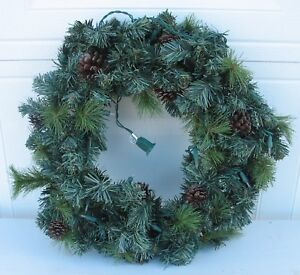 """CHRISTMAS WREATH 17"""" HOLIDAY DECORATION WITH PINE CONES & CHRISTMAS LIGHTS WHITE"""