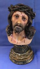 Antique Religious Bust Of Christ with Glass Eyes