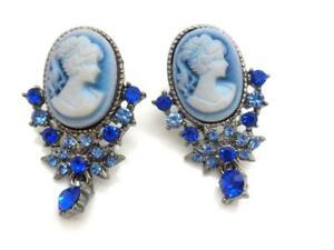 "New Blue Cameo Earrings 1.25"" Women Crystal Post"