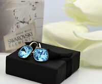 925 SILVER EARRINGS FANCY STONE CRYSTALS FROM SWAROVSKI® - AQUAMARINE