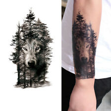 Waterproof Temporary Fake Tattoo Sticker Grey Forest Wolf Animals Large Black ZP