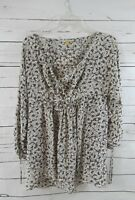LEIFSDOTTIR Floral Silk Blouse Tunic Top Womens 4 S Brown/cream Anthropologie