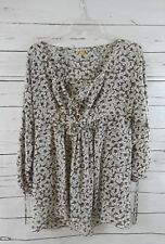 LEIFSDOTTIR Floral Silk Blouse Tunic Top Womens 4 S Brown/cream Anthropologie