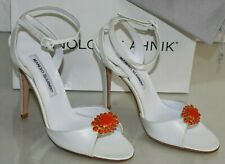NEW Manolo Blahnik JEZY 115 White Leather Strappy Sandals CORAL JEWEL Shoes 38