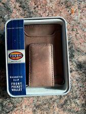 Fossil Jack Multicard Mag Front Pocket Wallet NIB Leather Dark Brown