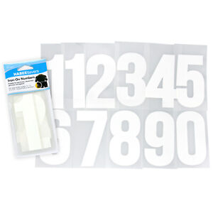 Iron On Numbers 11pc Set 10cm White