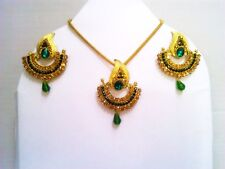 Indian Wedding Gold Plated Jewelry CZ Necklace Earrings Jhumki Bollywood Fashion