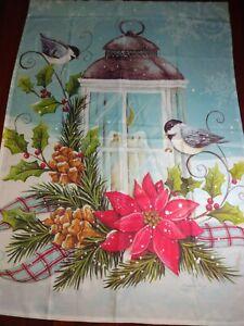 Breeze art snowman House Yard Flag Christmas  Banner Seasonal birds candle snow