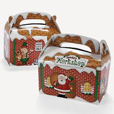 12 X SANTA'S WORKSHOP CHRISTMAS PARTY TREAT FAVOUR BOXES NEW 16cm XMAS
