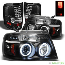 For 04-08 F150 Black CCFL Halo Projector Headlights + LED Tail Lights Combo