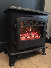 Electric Stove Fan Heater Flame Effect Log Wood Burner Free Standing 1800W Black