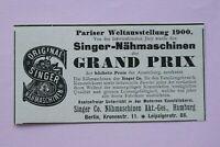 Werbung Anzeige um 1900 SINGER Nähmaschinen Hamburg Weltausstellung Holzschnitt