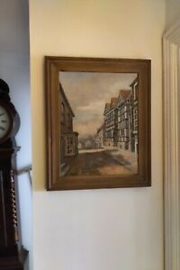 Vintage oil painting on canvas tranquil street scene framed signed H. Barker