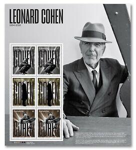 sq. LEONARD COHEN = Miniature sheet of 6 stamps Canada 2019 MNH