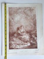 Original Antique 19th Century Lithograph Annette's Awakening Boucher Wattier
