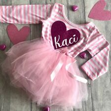PERSONALISED PRINCESS PARTY TUTU Dress, Long Sleeve Gift Dark Pink Heart Design