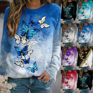 UK Womens Holiday Ladies Tee Blouse Shirt Butterfly Patchwork Loose Autumn Tops