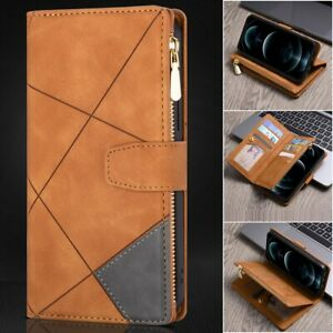 Leather Zipper Case Wallet Card Flip Cover For iPhone 13 12 11 Pro Max 8/7 XR XS